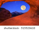 super moon framed by an arch in ... | Shutterstock . vector #515523610