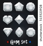 set of realistic white gems of... | Shutterstock .eps vector #515523928