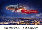 fantastic airship over the city ...   Shutterstock . vector #515530909