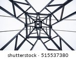 Small photo of Iron tower shot from below. The symmetrical composition