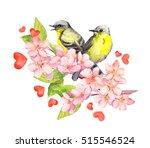 birds couple in love on blossom ... | Shutterstock . vector #515546524