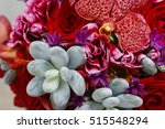 Bouquet With Red Orchid Flower...