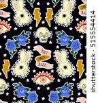 seamless pattern. rabbit  skull ... | Shutterstock .eps vector #515554414