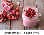 pomegranate raspberry smoothie... | Shutterstock . vector #515554948