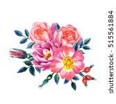 watercolor hand painted roses.... | Shutterstock . vector #515561884