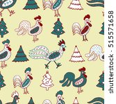 funny roosters  seamless vector ... | Shutterstock .eps vector #515571658