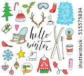hello winter hand drawn doodle... | Shutterstock .eps vector #515575834