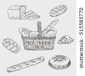 graphic kinds of bread include... | Shutterstock .eps vector #515585770