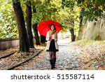 Young Brunette Woman Walking...