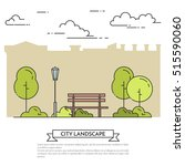 city landscape with bench in... | Shutterstock .eps vector #515590060