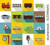 transport train station icons...   Shutterstock .eps vector #515590693
