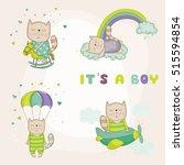 cute cat set. baby shower or... | Shutterstock .eps vector #515594854