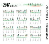 colorful cute one page calendar ... | Shutterstock .eps vector #515603464