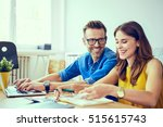 happy couple at home paying... | Shutterstock . vector #515615743