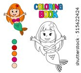 coloring book with mermaid | Shutterstock .eps vector #515622424