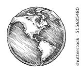 globe outline drawing. vector... | Shutterstock .eps vector #515635480