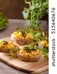scrambled eggs on toast with... | Shutterstock . vector #515640676