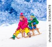 little girl and boy enjoy a... | Shutterstock . vector #515646478
