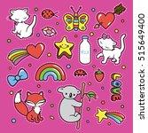 stickers collections in pop art ... | Shutterstock .eps vector #515649400