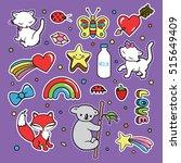 stickers collections in pop art ...   Shutterstock .eps vector #515649409