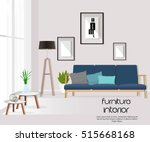 Furniture. Interior. Living room with sofa, table, lamp, pictures, window. Vector. | Shutterstock vector #515668168