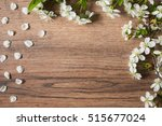 frame of white flowering cherry ... | Shutterstock . vector #515677024