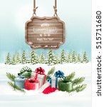 winter background with gift... | Shutterstock .eps vector #515711680