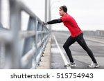man runner stretching legs... | Shutterstock . vector #515754943