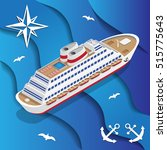 cruise liner on the waves.... | Shutterstock .eps vector #515775643