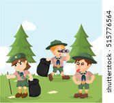 scout working together to clean ... | Shutterstock .eps vector #515776564