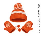 red hat with a pompom and... | Shutterstock .eps vector #515781508