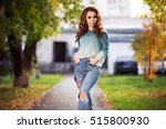 happy young woman with long... | Shutterstock . vector #515800930