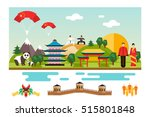 famous landmarks and national... | Shutterstock . vector #515801848