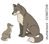 cartoon animals. father wolf... | Shutterstock .eps vector #515807248