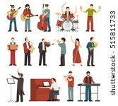 colored musicians figures with... | Shutterstock .eps vector #515811733
