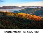 cold morning fog with golden hot sunrise in the valley of Carpathian mountain range. green grass and trees with colorful foliage on the hillside meadow lit by first rays of sun - stock photo