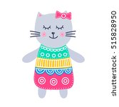 cute grey kitty. vector hand... | Shutterstock .eps vector #515828950