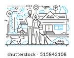 modern simple line flat design... | Shutterstock . vector #515842108