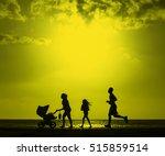 silhouette of family jogging... | Shutterstock . vector #515859514