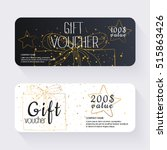 gift voucher template with gold ... | Shutterstock .eps vector #515863426
