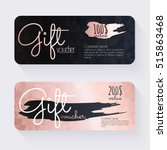 gift voucher template with rose ... | Shutterstock .eps vector #515863468