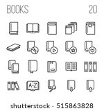 set of book icons in modern... | Shutterstock .eps vector #515863828