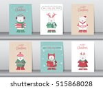 set of cute merry christmas ... | Shutterstock .eps vector #515868028