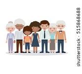grandparents parents and kids... | Shutterstock .eps vector #515868688
