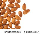 Nuts Border Of Almonds On Whit...