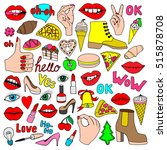 a set of quirky cartoon patch... | Shutterstock .eps vector #515878708