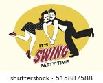 funny couple dressed in retro... | Shutterstock .eps vector #515887588