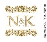 n and k vintage initials logo... | Shutterstock .eps vector #515890648