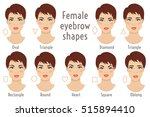 Set of vector eyebrow shapes. Eyebrows that are suited to different types of woman face. Set of illustrations with captions. Various forms of woman faces. Stock vector illustration.
