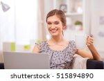 attractive businesswoman... | Shutterstock . vector #515894890